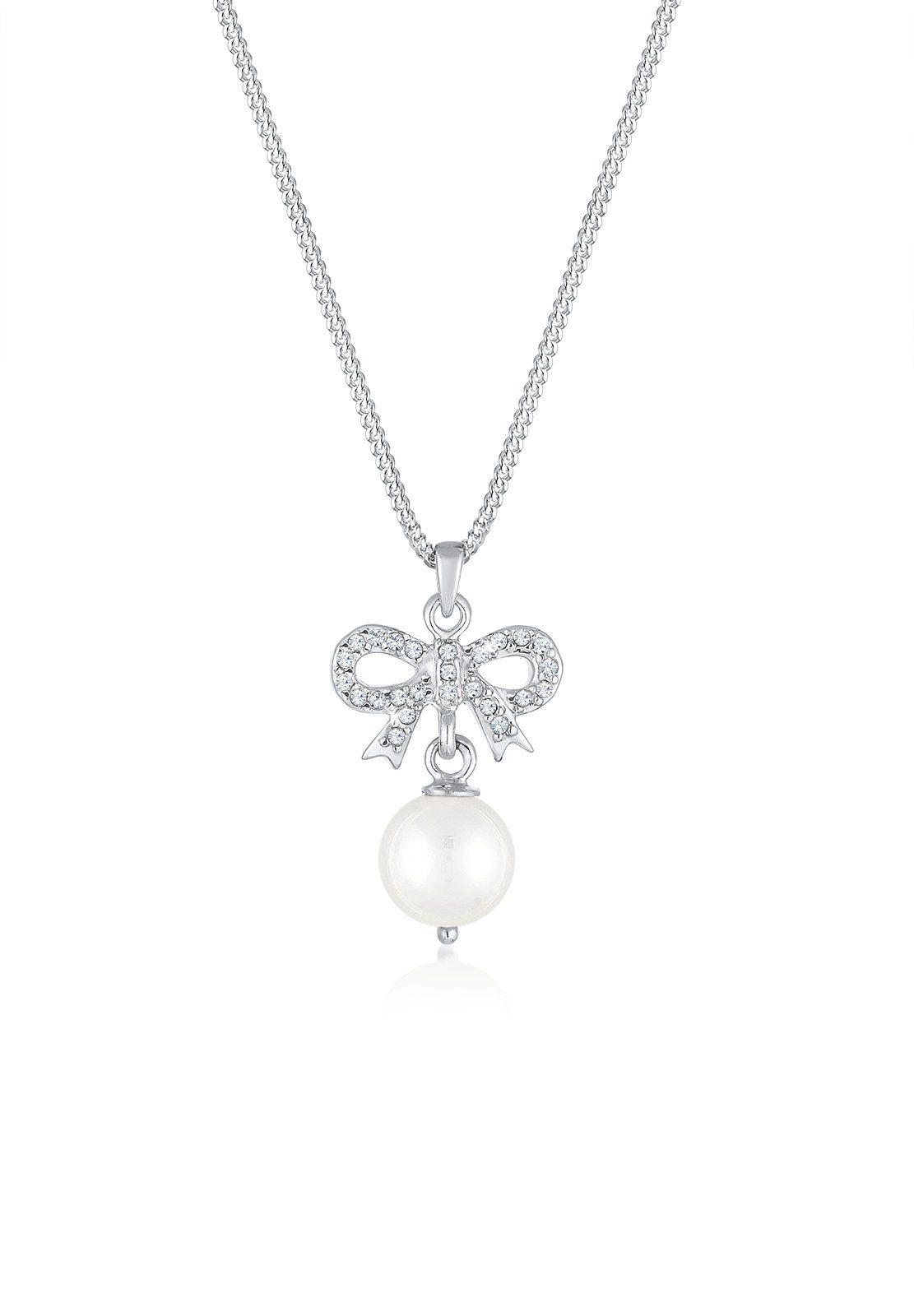 Elli Halskette »Schleife Perle Swarovski® Kristalle 925 Silber«