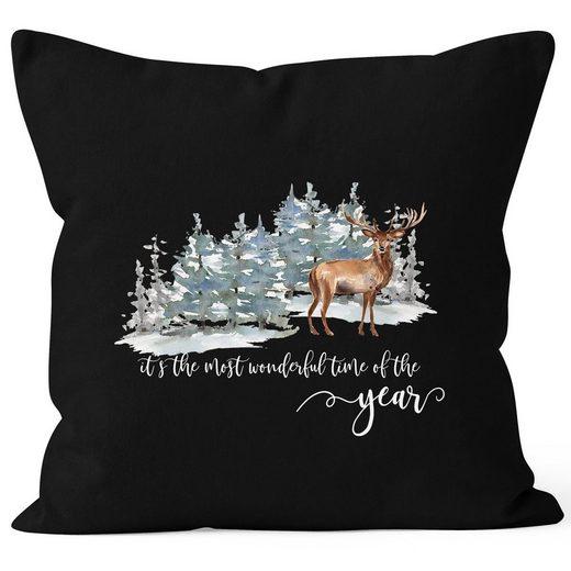 Autiga Dekokissen »Kissenbezug Weihnachten It`s the most wonderful time of the year Hirsch Weihnachtsmotiv Autiga®«