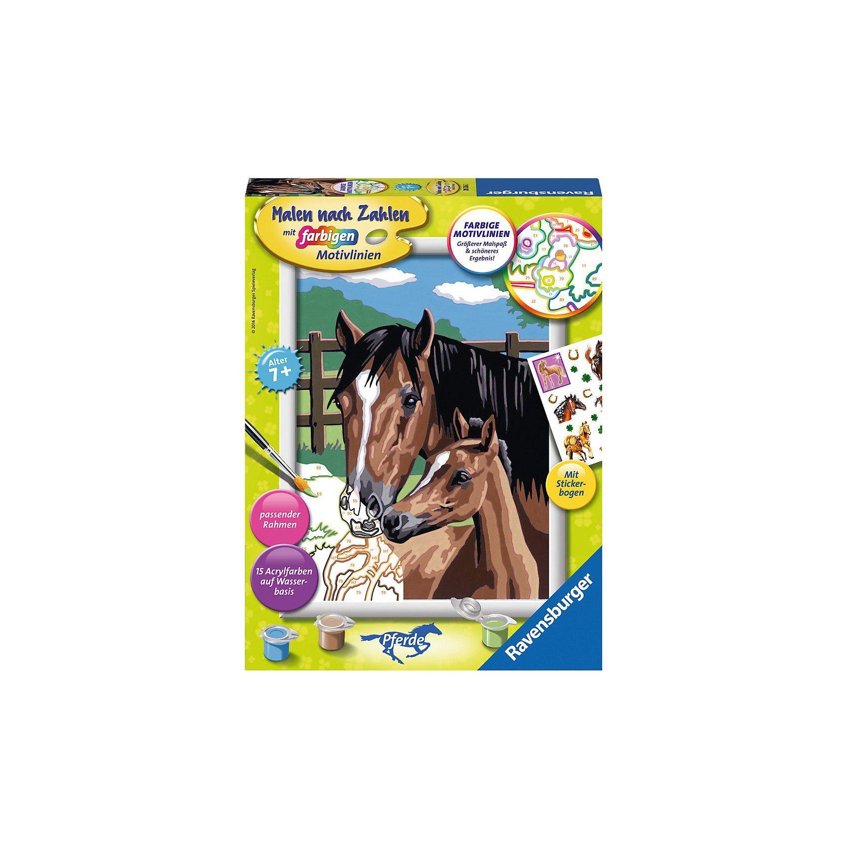Ravensburger Malen nach Zahlen Classic Serie Pferde Pferd mit Fohlen + St