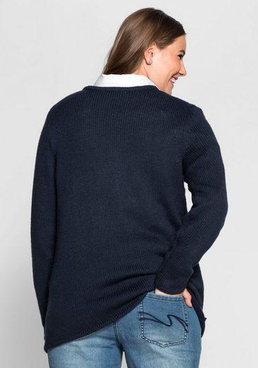 sheego Casual V-Ausschnitt-Pullover, Intarsienstrick in Sternform