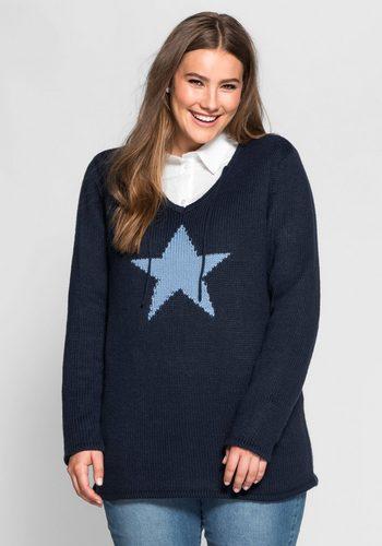 Damen sheego Casual V-Ausschnitt-Pullover Intarsienstrick in Sternform blau | 08941101582540