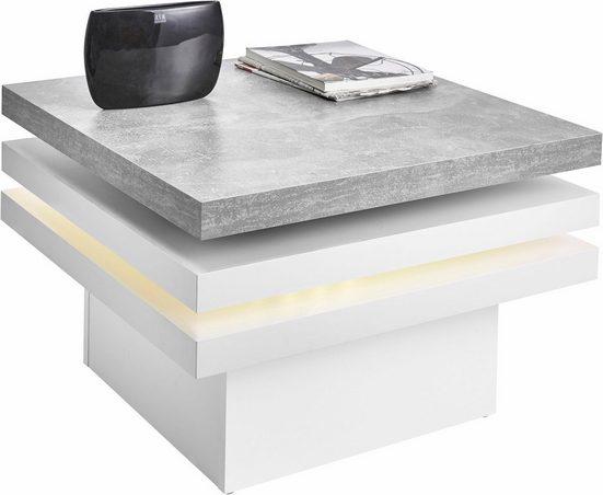 PRO Line Couchtisch, mit Funktion, drehbare Tischplatte, mit LED-Beleuchtung