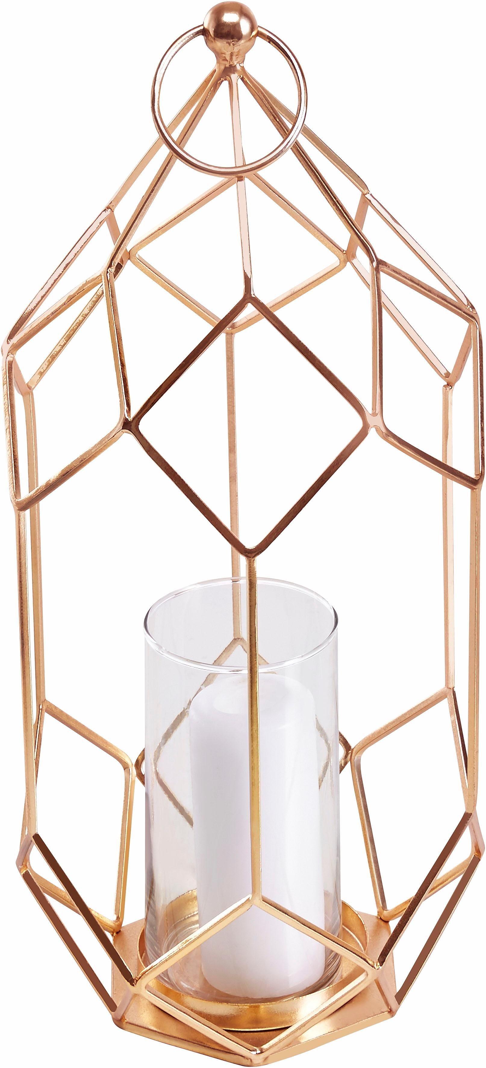 Home affaire Laterne mit Glas, Goldfarben | Dekoration > Kerzen und Kerzenständer > Laternen | Home affaire