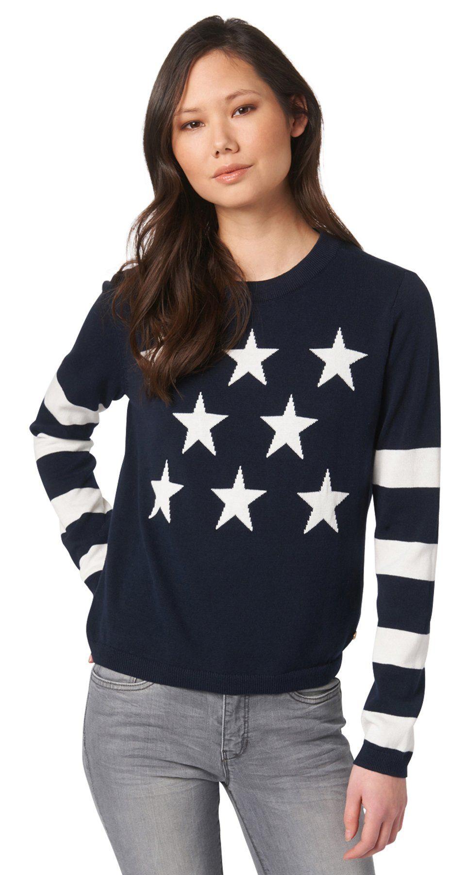 TOM TAILOR DENIM Pullover »Feinstrick-Pullover mit Sternen«