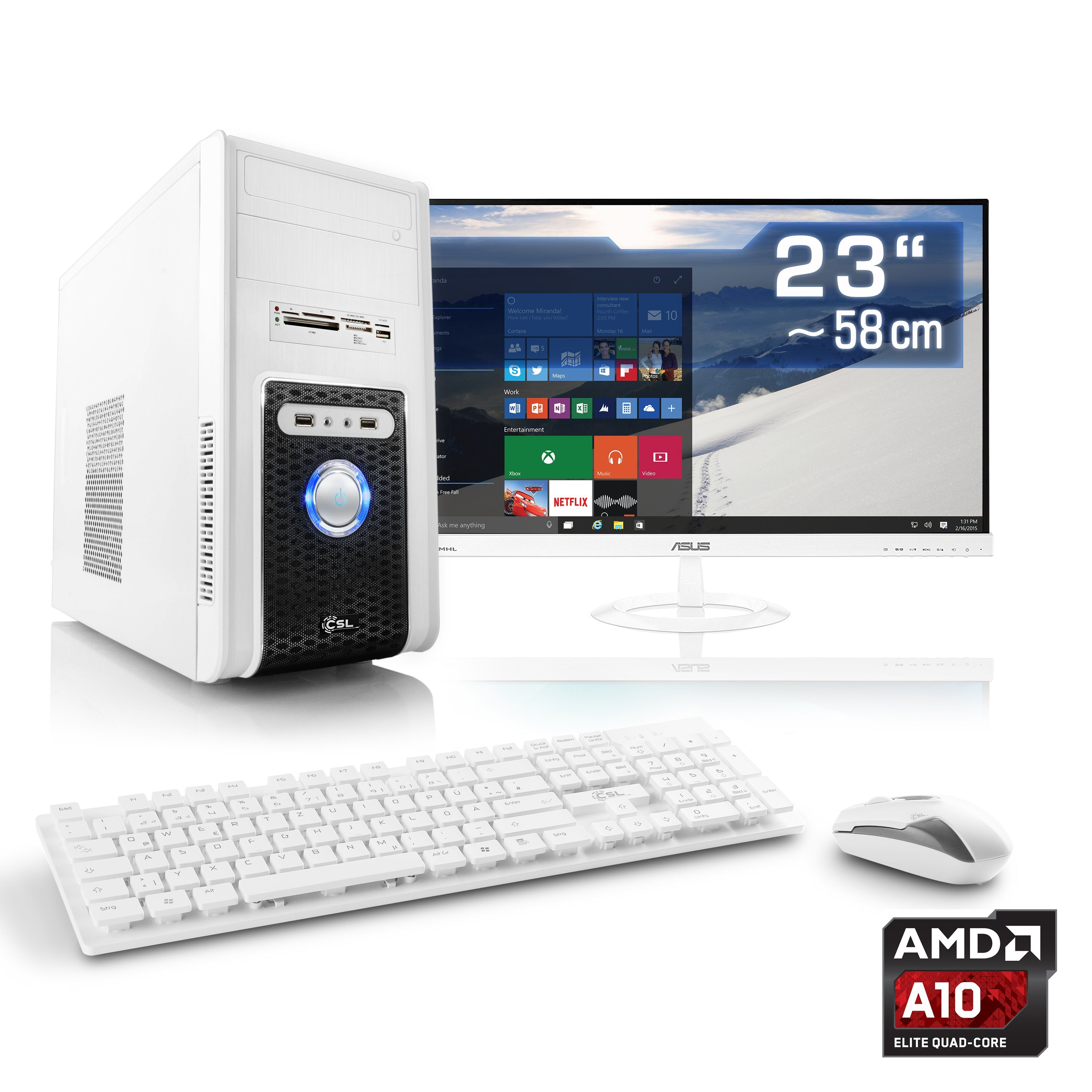 "CSL Multimedia PC Set | A10-6790K | HD 8670D | 16 GB RAM | 23"" TFT »Sprint T4601 Windows 10 Home«"