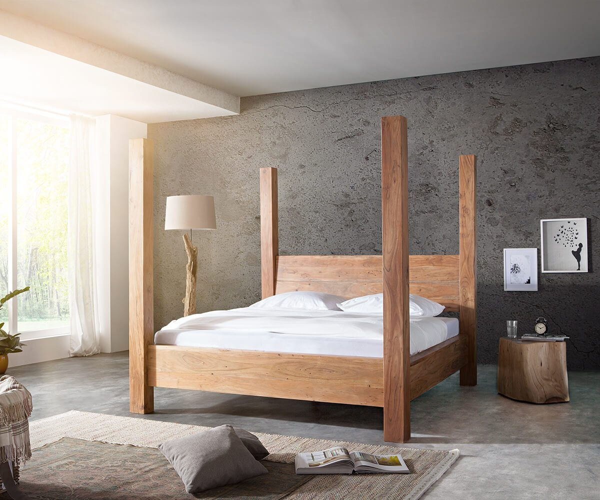 DELIFE Holzbett Blokk Akazie Natur 180x200 cm