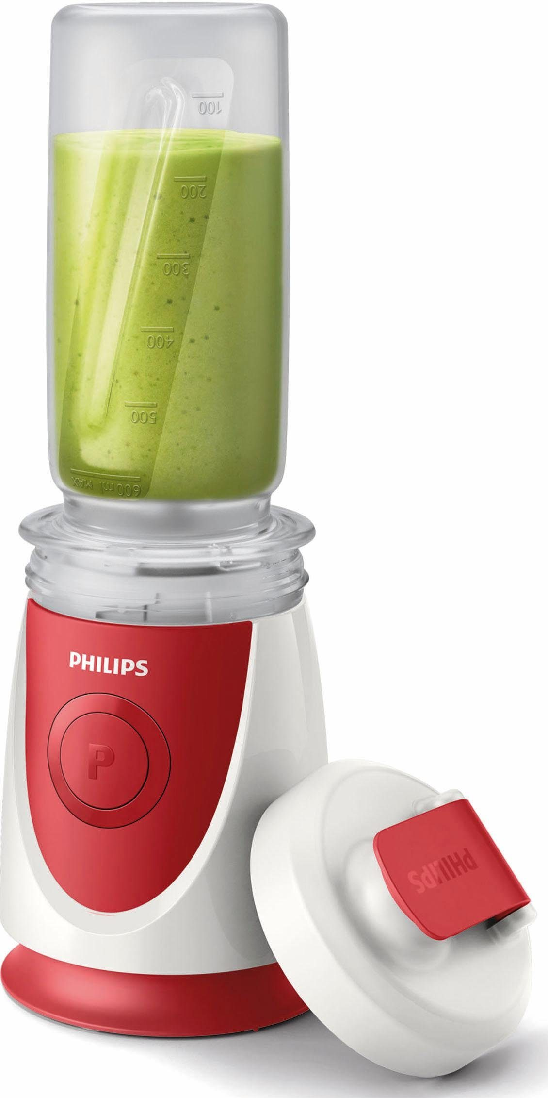 Philips Mini Standmixer HR2897/00, 350 Watt, 4 Messer, inkl. Trinkbecher, weiß-rot