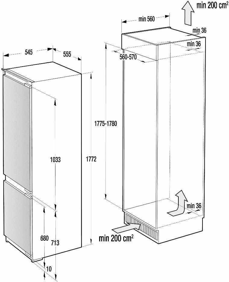 Gorenje integrierbare Einbau-Kühlgefrierkombination RKI5182E1, A++, 177,2 cm