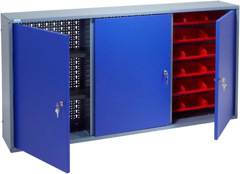 k pper h ngeschrank 3 t ren 2 einlegeb den 18 sichtboxen in ultramarinblau online kaufen otto. Black Bedroom Furniture Sets. Home Design Ideas