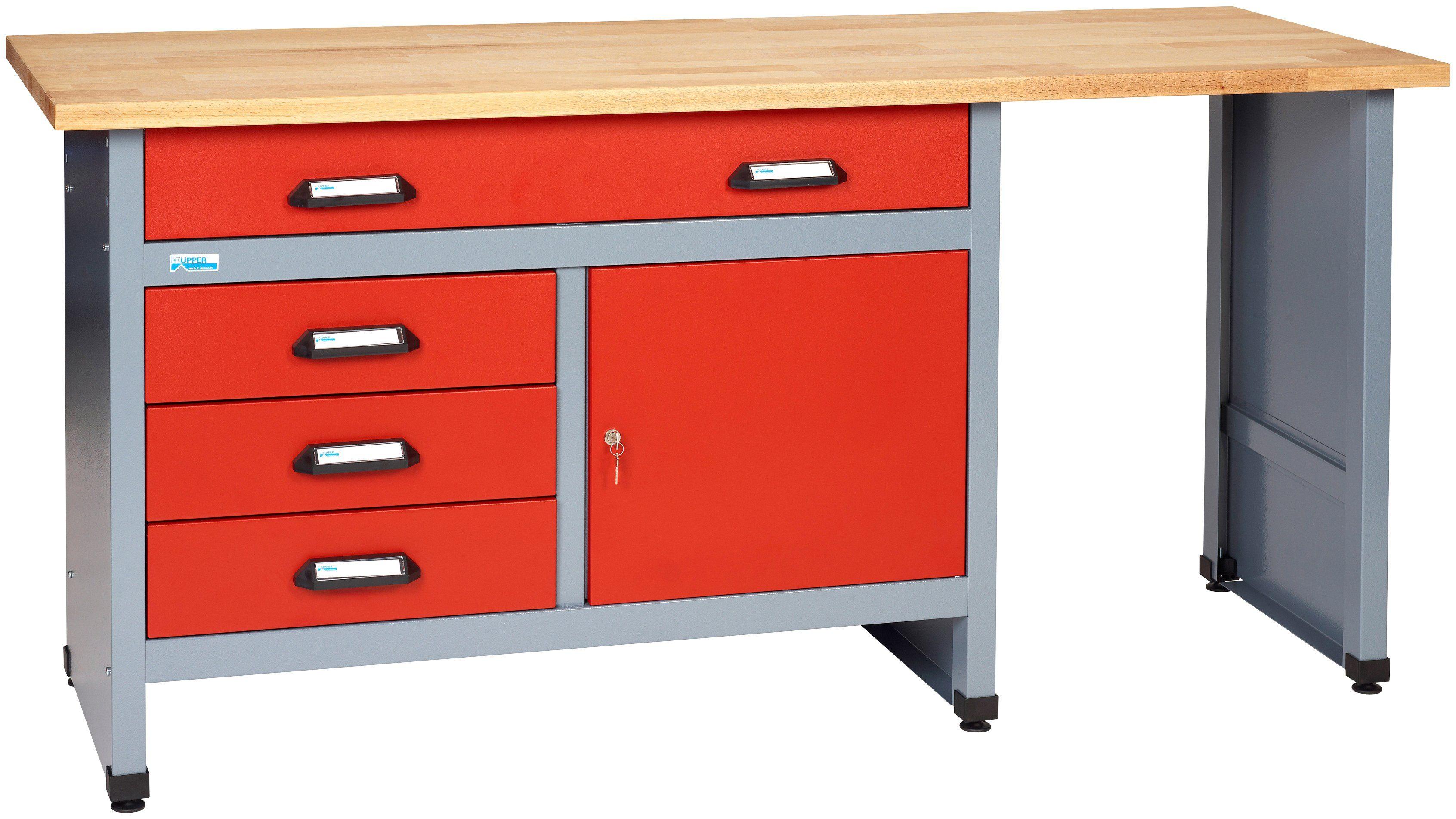 KÜPPER Werkbank »in rot, 1 Tür, 4 Schubladen, Sitzraum«