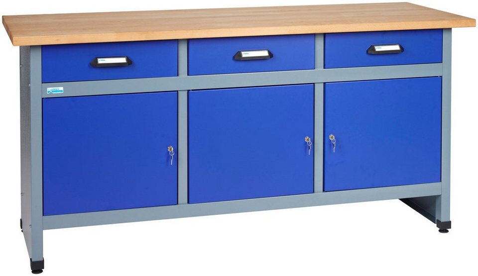 k pper werkbank 3 t ren 3 schubladen ultramarinblau in verschiedenen h hen online kaufen otto. Black Bedroom Furniture Sets. Home Design Ideas