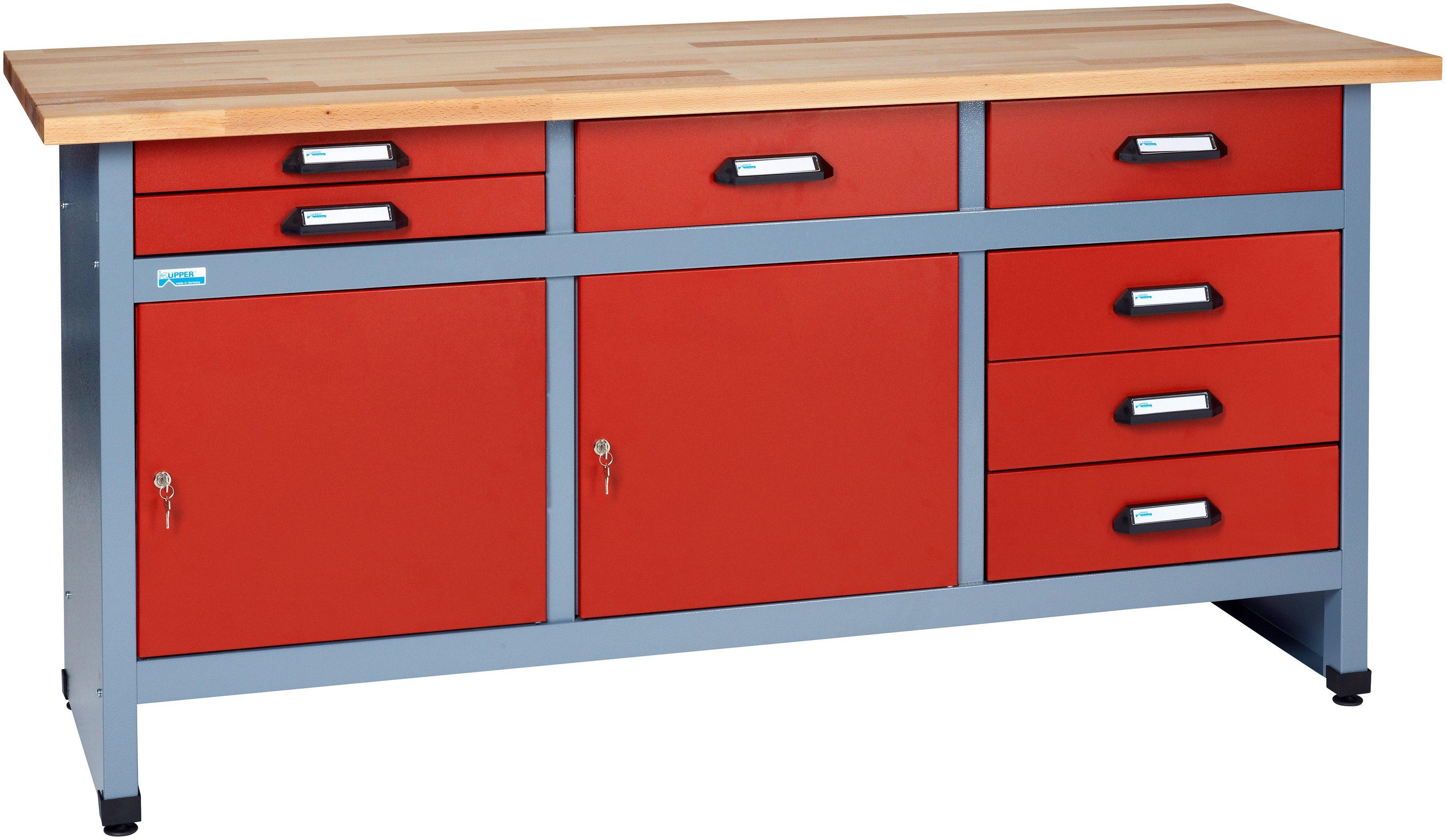 Küpper Werkbank »in rot, 2 Türen, 7 Schubladen«
