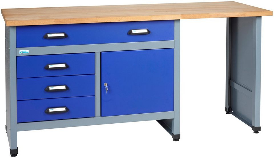 k pper werkbank in blau 1 t r 4 schubladen otto. Black Bedroom Furniture Sets. Home Design Ideas