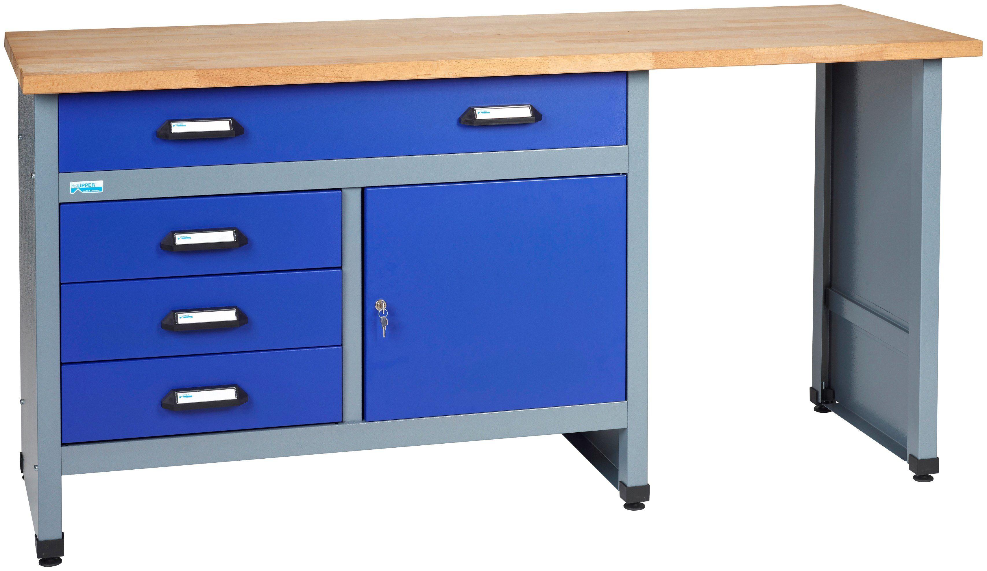 KÜPPER Werkbank »in blau, 1 Tür, 4 Schubladen«