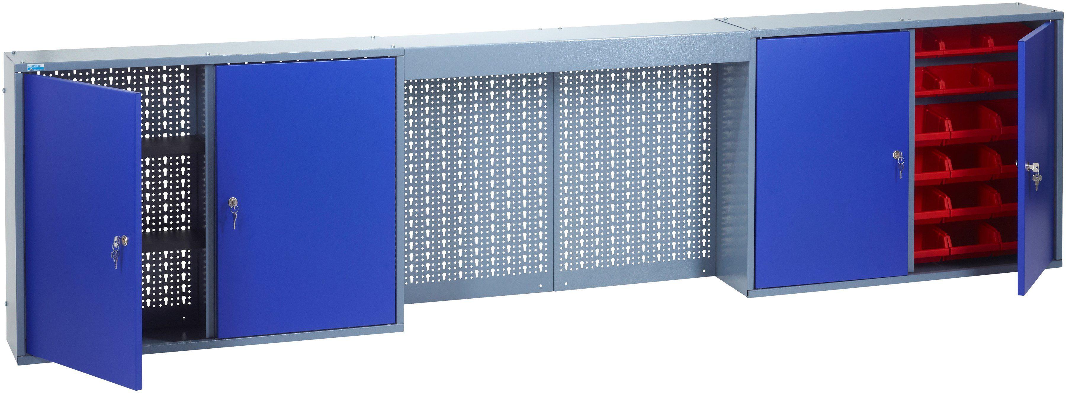 KÜPPER Hängeschrank »mit Lichtblende, 4 Türen, 4 Einlegeböden, 36 Sichtboxen, in ultramarinblau«