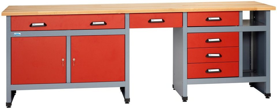 k pper werkbank 6 schubladen 2 t ren in rot sonderh he 95 cm online kaufen otto. Black Bedroom Furniture Sets. Home Design Ideas