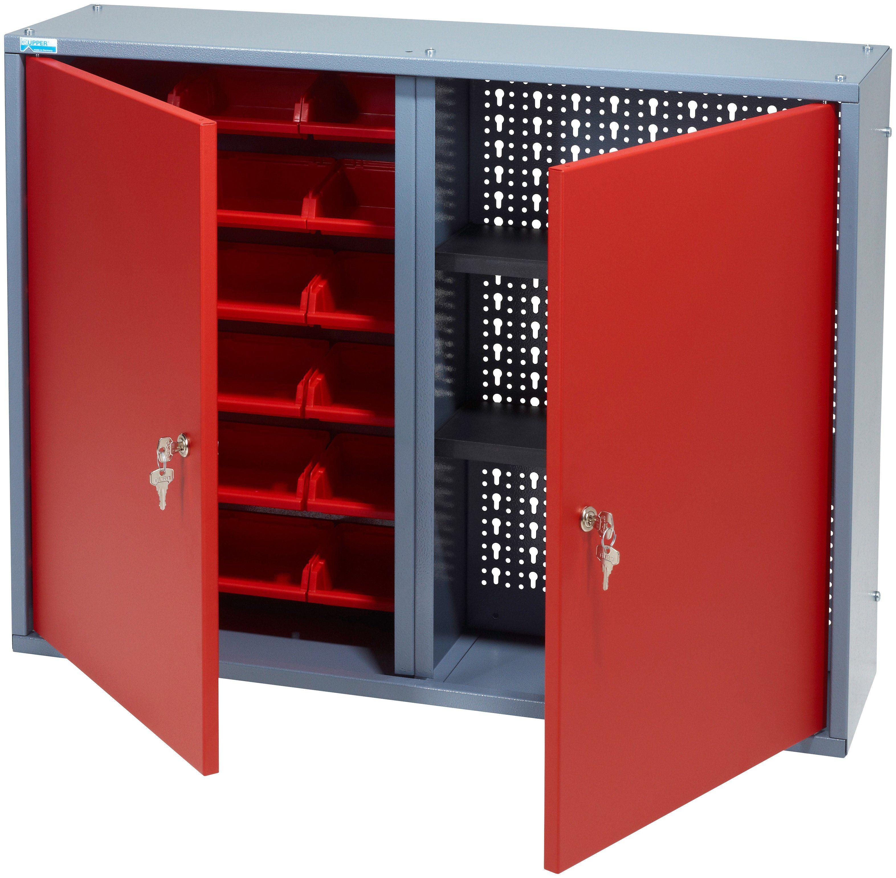 KÜPPER Hängeschrank »2 Türen, 2 Einlegeböden, 18 Sichtboxen, in rot«