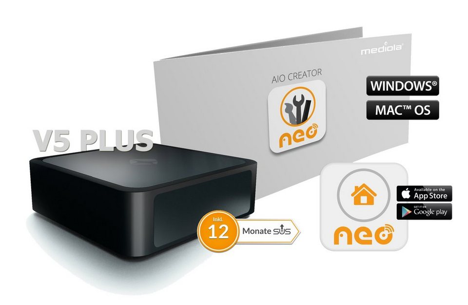 mediola smart home steuerung komfort set aio gateway v5plus inkl creator neo plugin. Black Bedroom Furniture Sets. Home Design Ideas