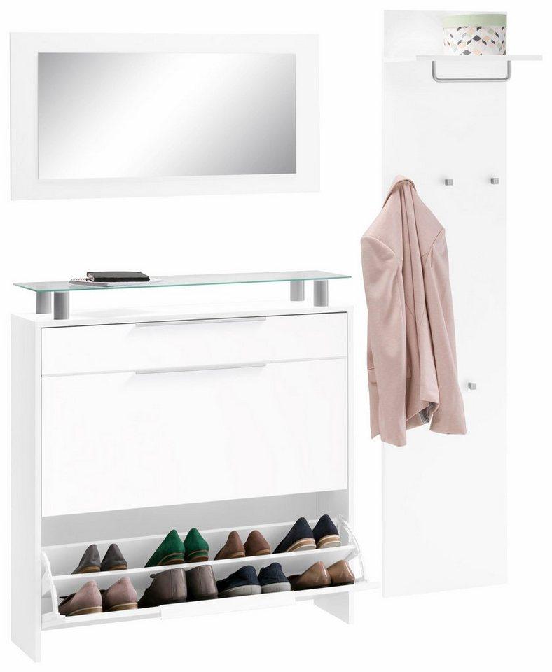 borchardt m bel garderoben set oliva 3 tlg mit glasablage online kaufen otto. Black Bedroom Furniture Sets. Home Design Ideas