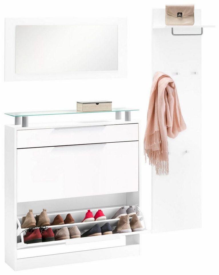 borchardt m bel garderoben set oliva 3 tlg stehender schuhschrank mit glasablage online. Black Bedroom Furniture Sets. Home Design Ideas