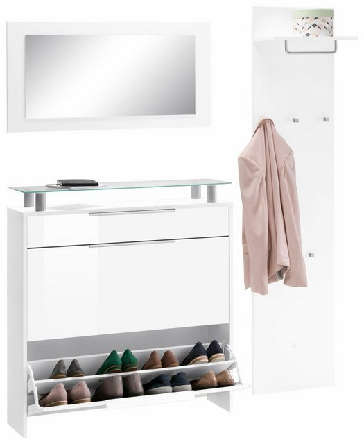 Garderoben Sets - borchardt Möbel Garderoben Set »Oliva«, (Set, 3 tlg), hängender Schuhschrank  - Onlineshop OTTO