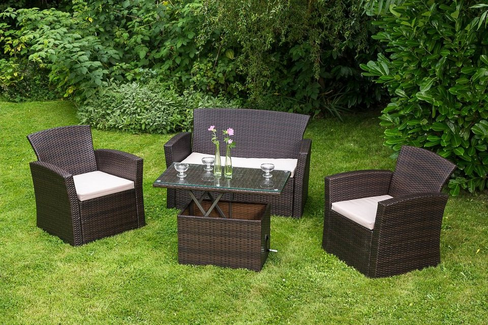 merxx loungeset teramo 7 tlg 2 sessel 2er sofa tisch 90x50 cm polyrattan online kaufen. Black Bedroom Furniture Sets. Home Design Ideas