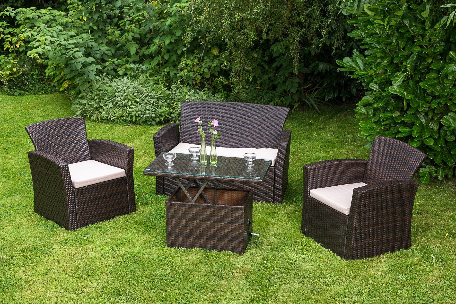 MERXX Loungeset »Teramo«, 7-tlg., 2 Sessel, 2er-Sofa, Tisch 90x50 cm, Polyrattan