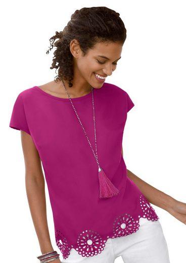 Classic Basics Shirtbluse mit filigranem Lochmuster