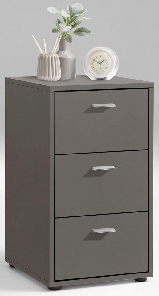 FMD Nachttisch, Breite 35 cm, Melaminoberfläche »suva« | Schlafzimmer > Nachttische | Grau | OTTO