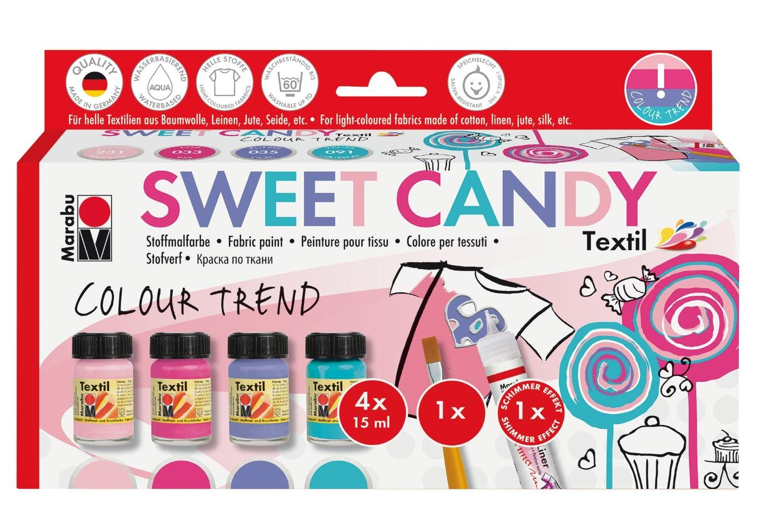 "Marabu Textilfarben-Set ""Sweet Candy"" inkl. Pinsel und Fashion-Liner"