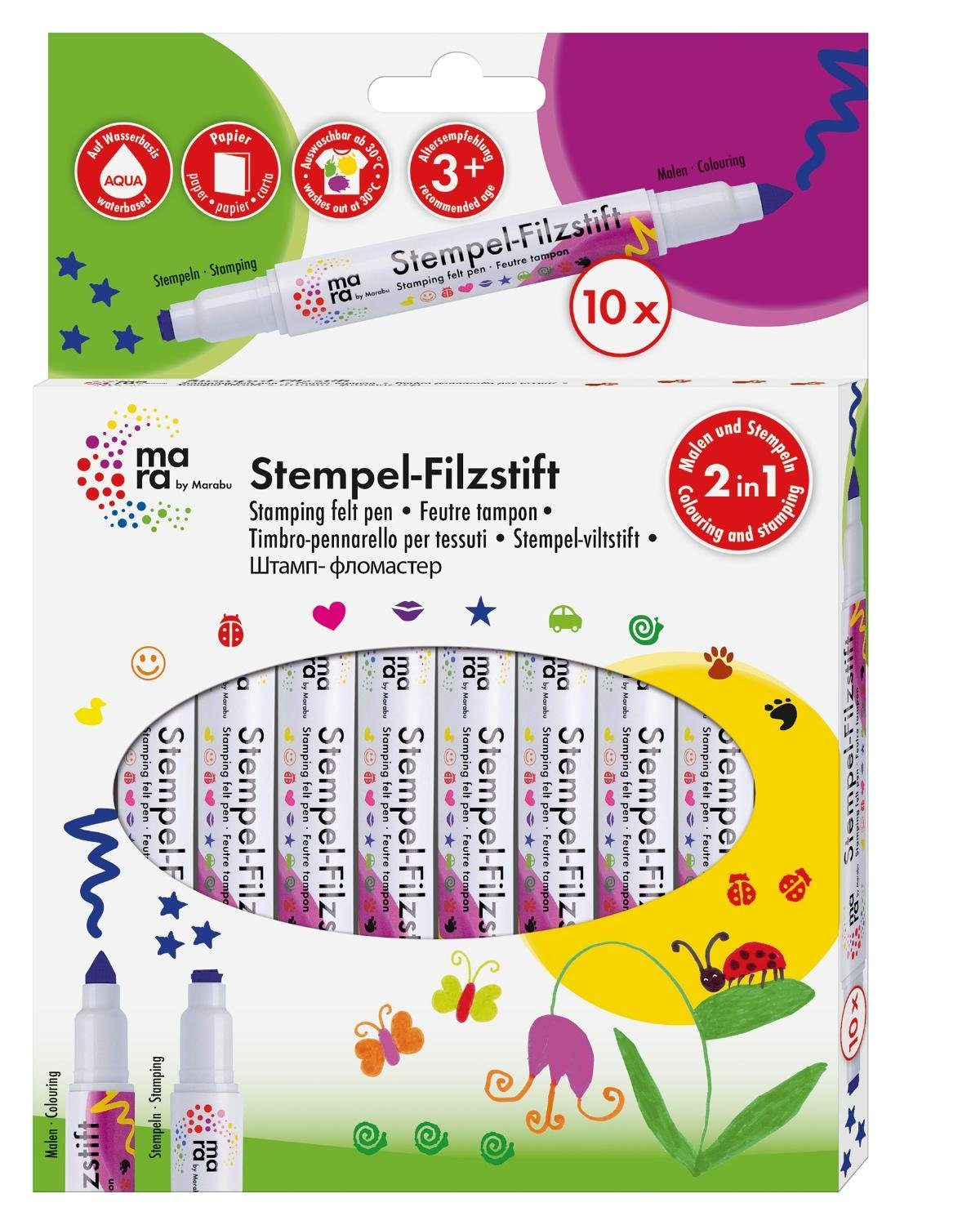"Marabu Stempel-Filzstifte-Set ""mara Basic"" 10er-Set"