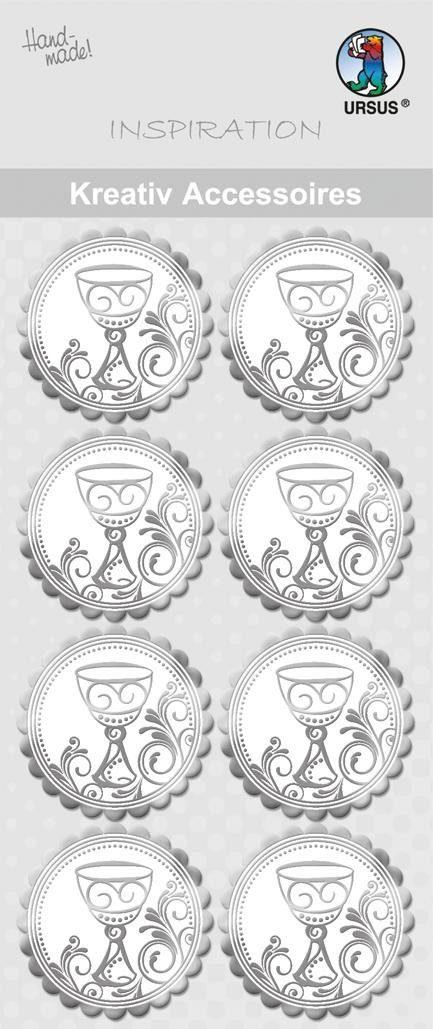 """URSUS Aufkleber-Sticker """"Kelch Silber"""" 8 Stück"""