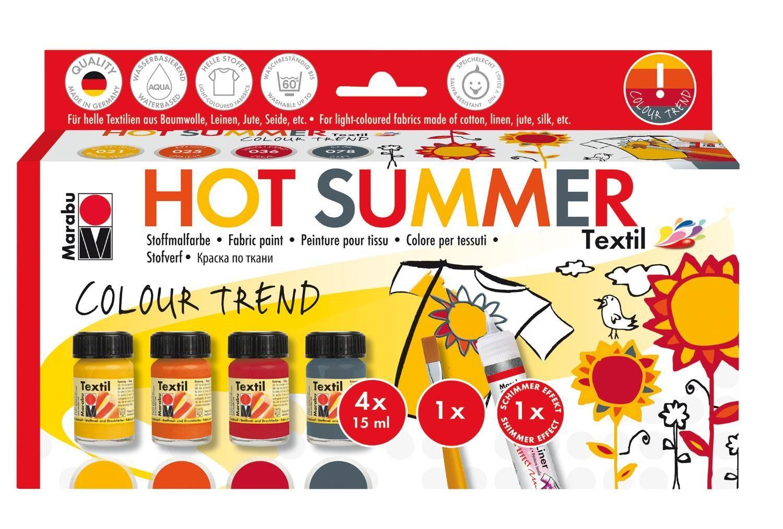 """Marabu Textilfarben-Set """"Hot Summer"""" inkl. Pinsel und Fashion-Liner"""