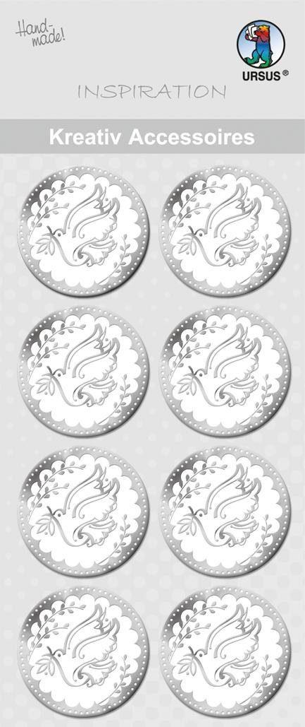 """URSUS Aufkleber-Sticker """"Taube Silber"""" 8 Stück"""