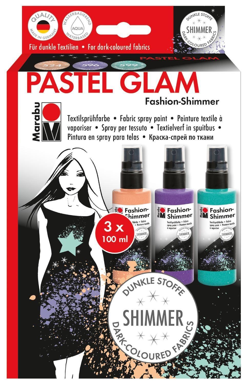 """Marabu Textilspray-Set """"Fashion-Shimmer Pastel"""" 3er-Set"""