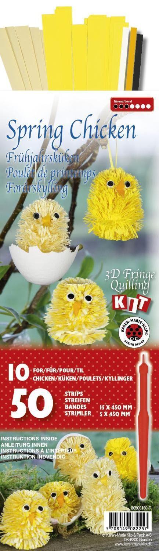 """Karen Marie Klip 3D Fringe-Quilling-Set """"Spring Chicken"""" 50 Streifen"""