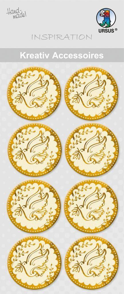 """URSUS Aufkleber-Sticker """"Taube Gold"""" 8 Stück"""