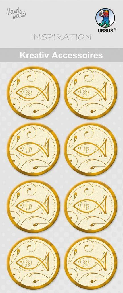 """URSUS Aufkleber-Sticker """"Fische Gold"""" 8 Stück"""