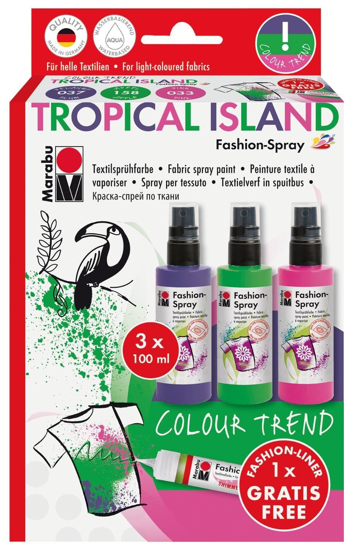 "Marabu Textilspray-Set ""Fashion-Shimmer Tropical Island"" inkl. Liner"