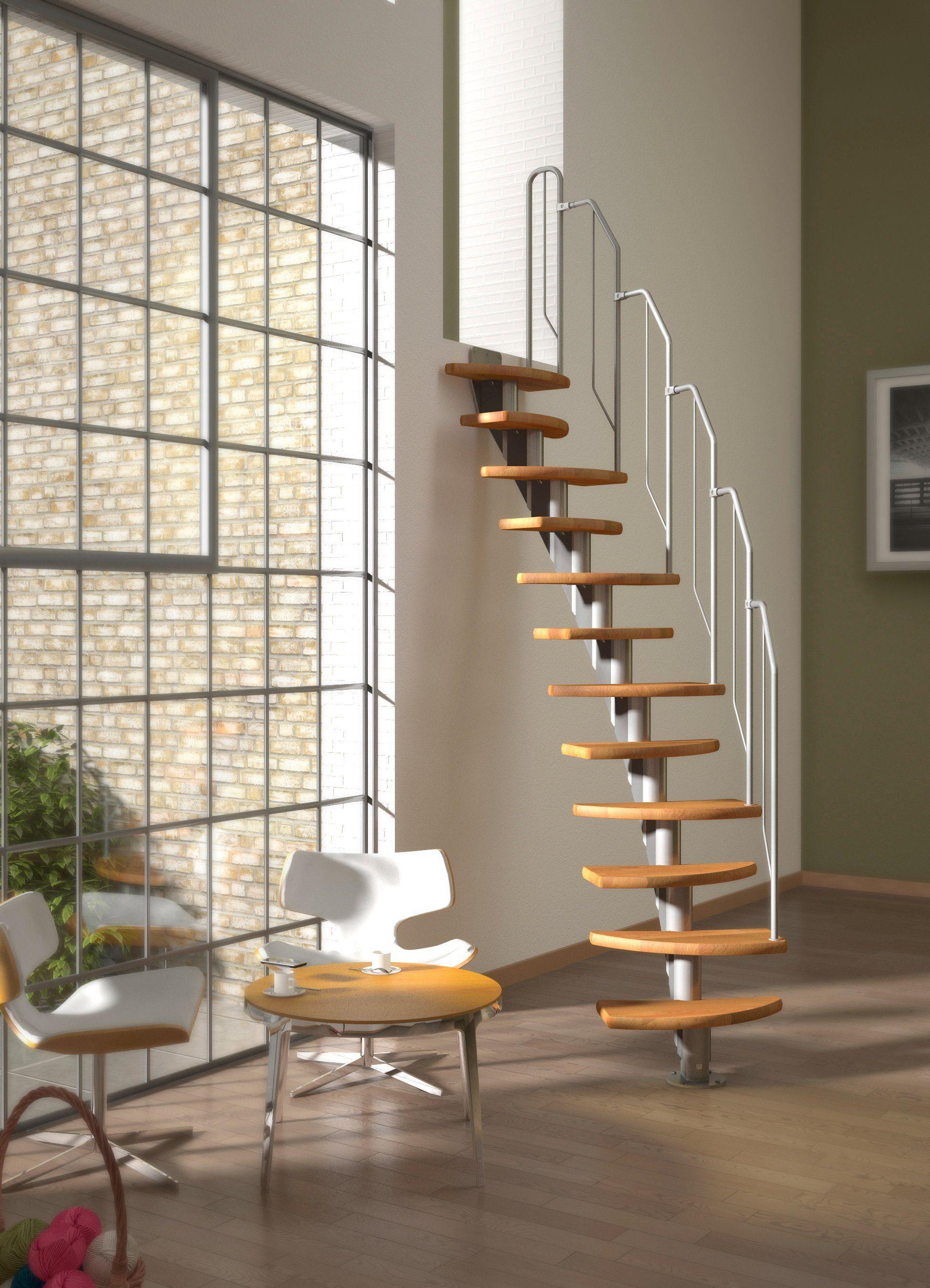 DOLLE Systemtreppe »Berlin«, Metallgeländer und -handlauf, Buche, BxH: 64x247 cm