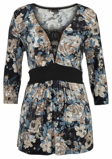 Lascana Pajama Floral Print With A Sophisticated Shell In