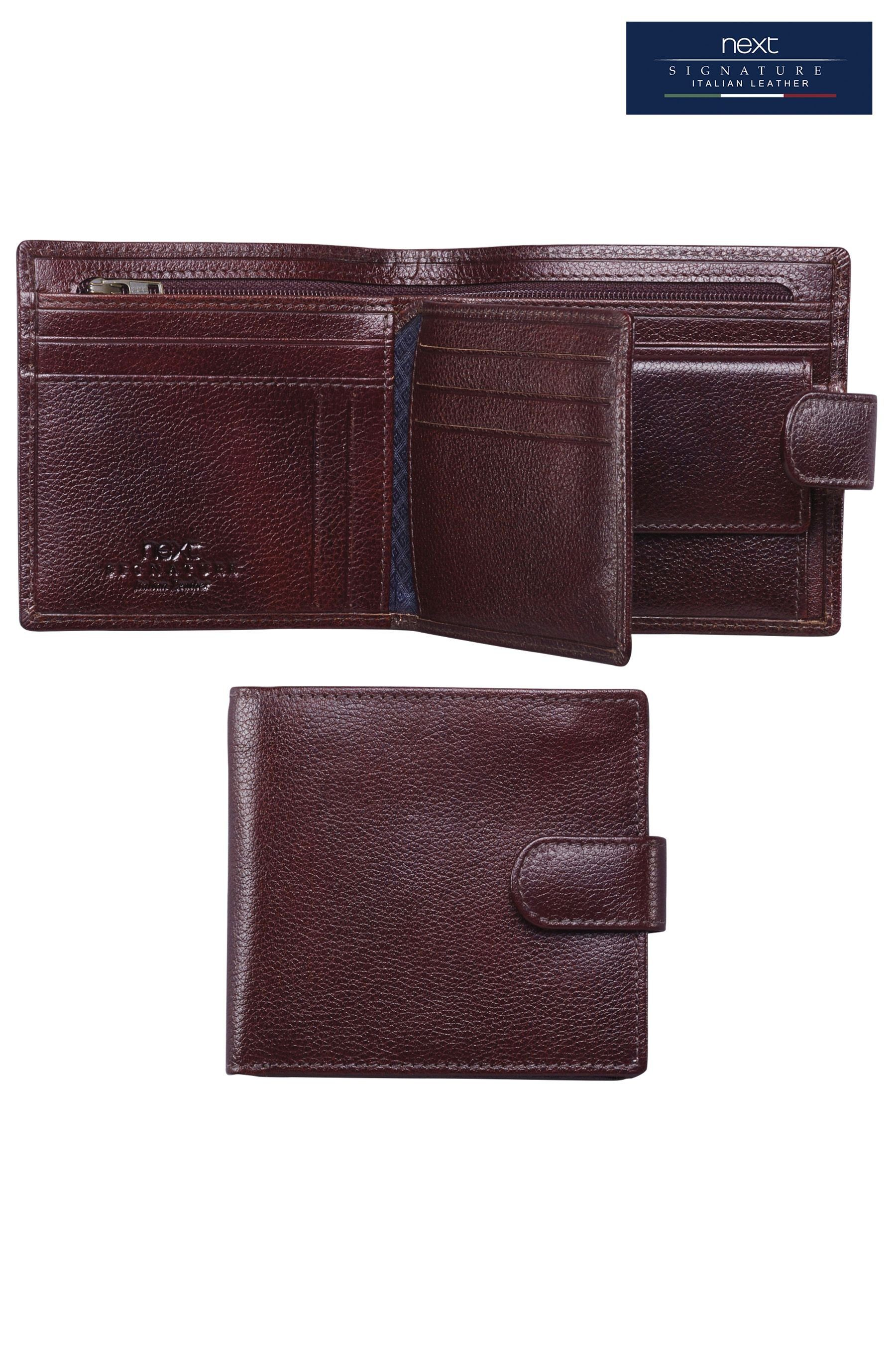 Next Große Brieftasche aus italienischem Leder mit Druckknopf
