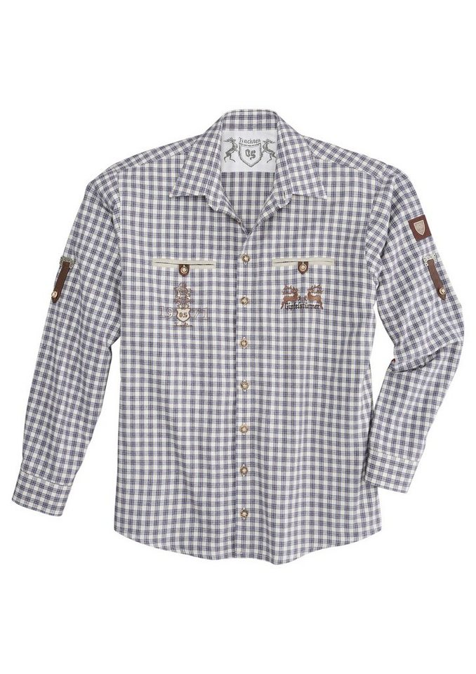 Herren OS-Trachten Trachtenhemd in Flanelloptik blau   04006109134390