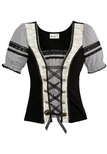Damen Marjo Trachtenshirt Damen mit Satinbandschnürung schwarz | 04058057028443