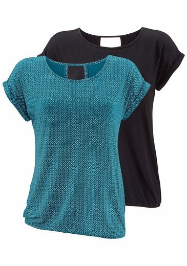 LASCANA T-Shirts (2 Stück) mit Cut-out im Nacken