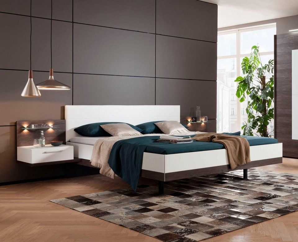 doppelbett mit nachtkonsolen home ideen. Black Bedroom Furniture Sets. Home Design Ideas