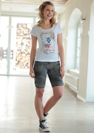 Stockerpoint Trachtenshirt Damen mit Reh-Aufdruck und Stickerei