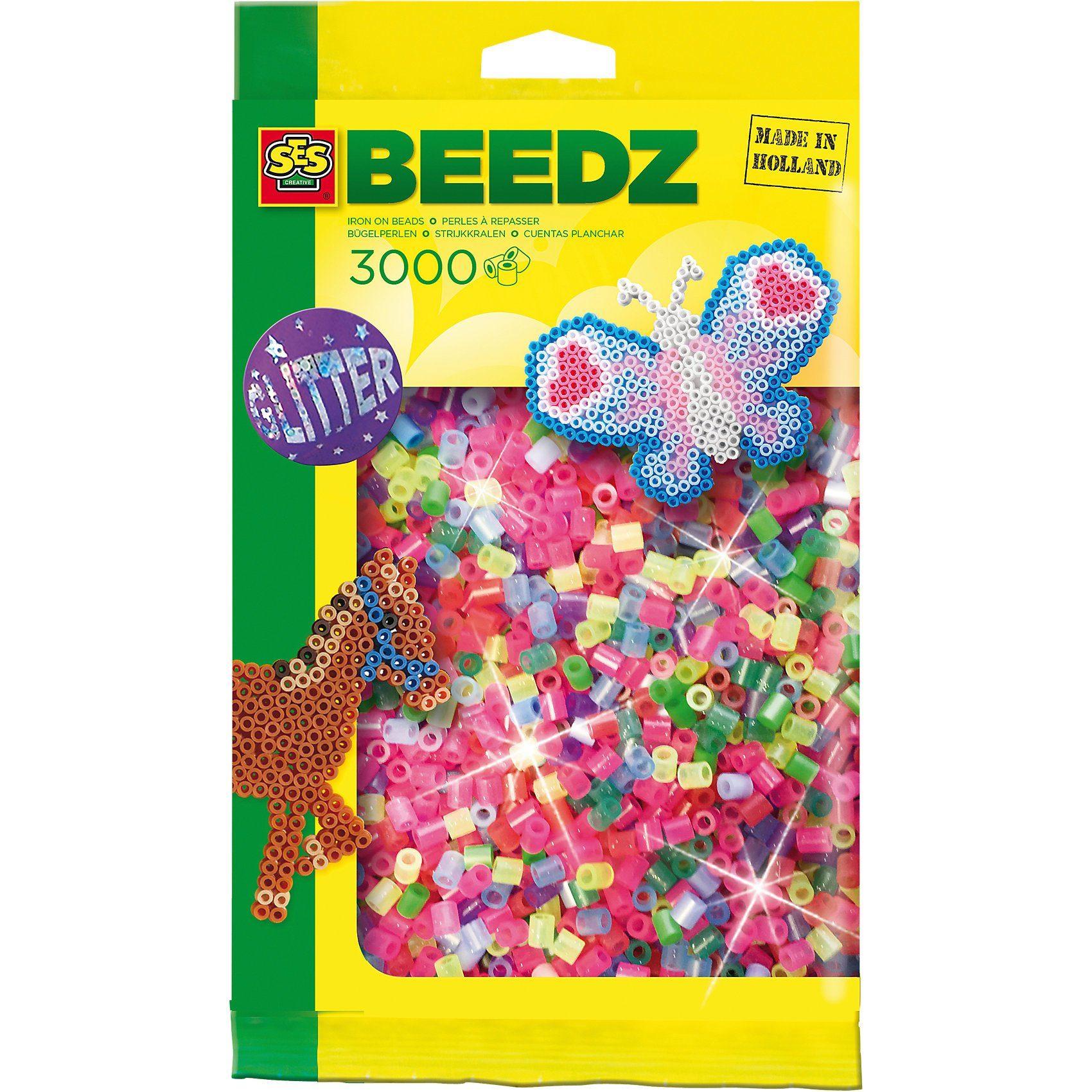 SES Creative Bügelperlenmix Glitzer (3.000 Perlen)