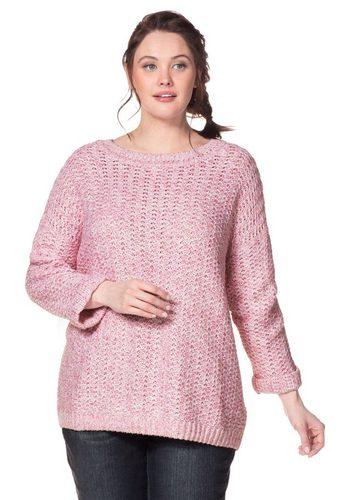 Damen sheego Casual Rundhalspullover Strukturstrick in Melange-Optik I Leicht überschnittene Schulter rosa | 04054697412178