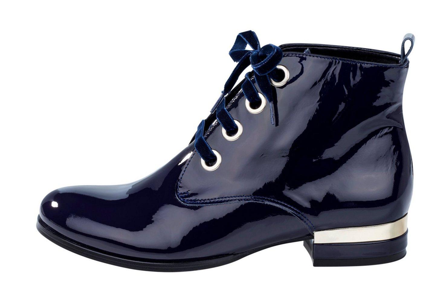 Damen Heine Schnürstiefelette in Lack-Optik blau | 08495132046354